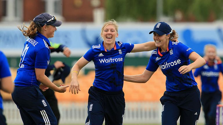 Heather Knight (C) led England Women to successful tours of the West Indies and Sri Lanka