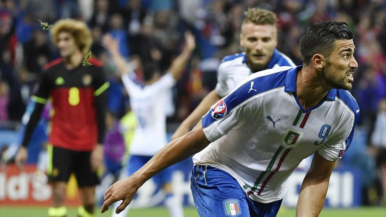 Italy's Graziano Pelle celebrates after scoring his team's second goal