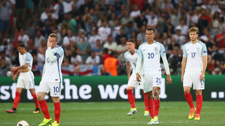(Left to right) Wayne Rooney, Dele Alli and Eric Dier look on dejected