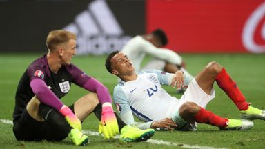 Joe Hart and Dele Alli react to England's Euro 2016 exit at the hands of Iceland