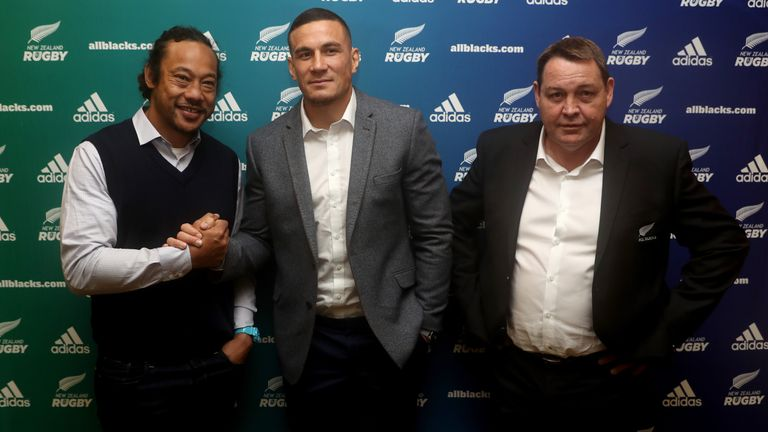 Blues coach Tana Umaga, Sonny Bill Williams and All Blacks coach Steve Hansen