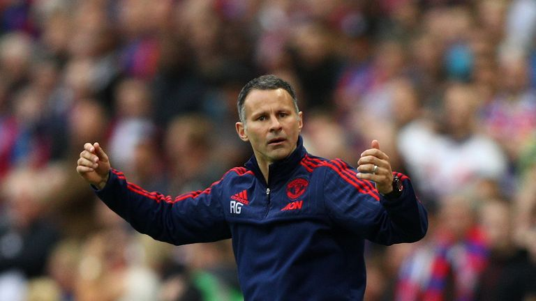 Ryan Giggs assistant manager of Manchester United reacts