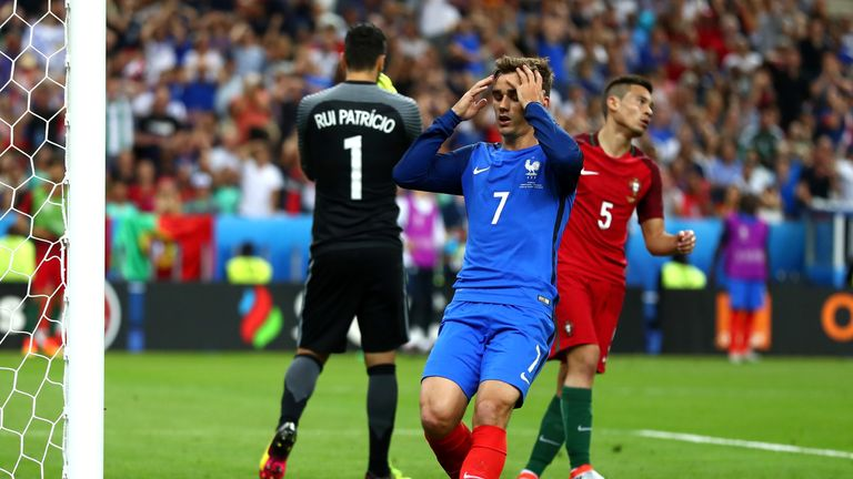 Griezmann missed a fine chance for France in the second half
