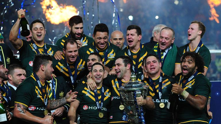 Australia celebrate their 2013 Rugby League World Cup victory