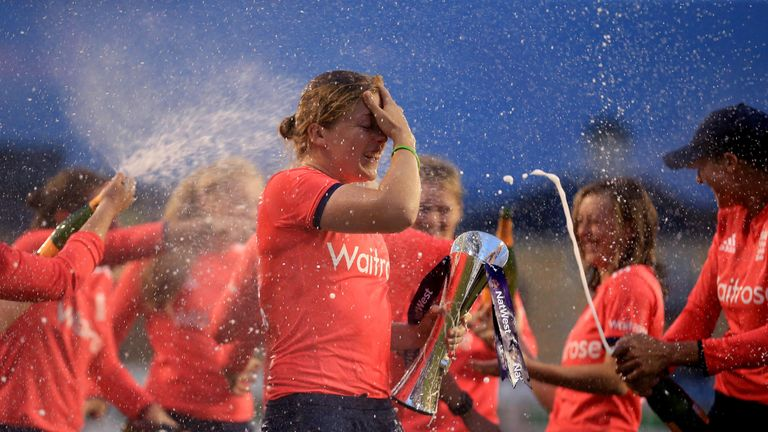 Heather Knight celebrates after winning the Natwest Women's International T20 match between England and Pakistan