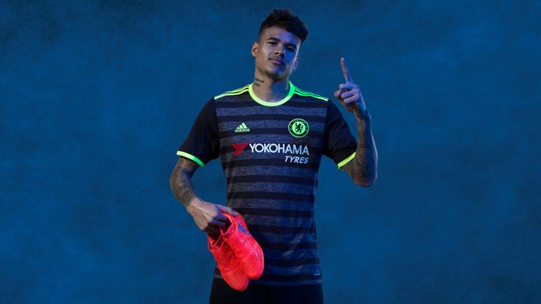 Brazilian forward Kenedy models Chelsea's new away kit (image c/o Chelsea)