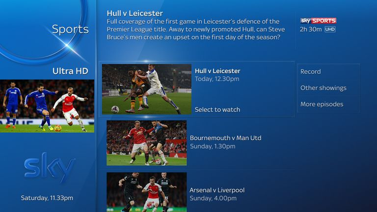 Hull v Leicester will be the first live Ultra HD Premier League broadcast available to customers with Sky Q Silver