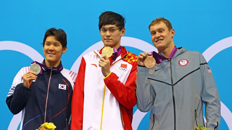 Park Tae-hwan won silver in the men's 400m Freestyle (left) at London 2012