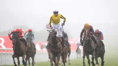 Big Orange ridden by jockey Jamie Spencer (centre) comes home to win the Qatar Goodwood Cup for the second year running from Pallasator (right, orange cap) and Sheikhzayedroad (left).