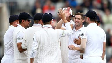 Chris Woakes celebrates taking the key wicket of Misbah-ul-Haq