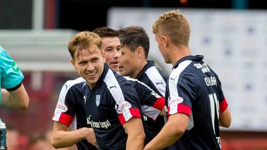 Dundee's Greg Stewart (left) savours his hat-trick against Dumbarton