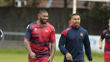 Wigan's Frank-Paul Nu'uausala (L) has been banned for one match for punching