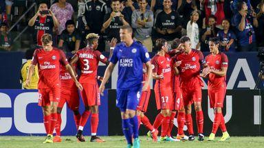 Paris Saint-Germain forward Edison Cavani, (2nd R), celebrates his goal with his team during their International Champions Cup (ICC) game against Leicester