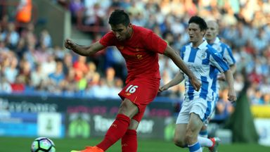 Marko Grujic opens the scoring for Liverpool with a well-struck effort just past the half-hour mark