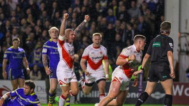 St Helens' Morgan Knowles celebrates a try