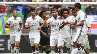 Marcelo (centre) celebrates after opening the scoring against Chelsea