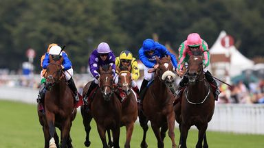 War Decree (right) ridden by jockey Ryan Moore on the way to winning the Qatar Vintage Stakes