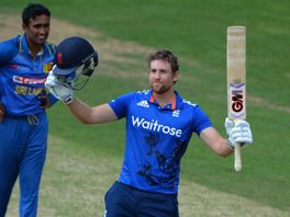 Dawid Malan celebrates his century for England Lions