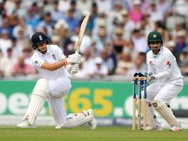 Joe Root sweeps on his way to his Test best 254 at Old Trafford.