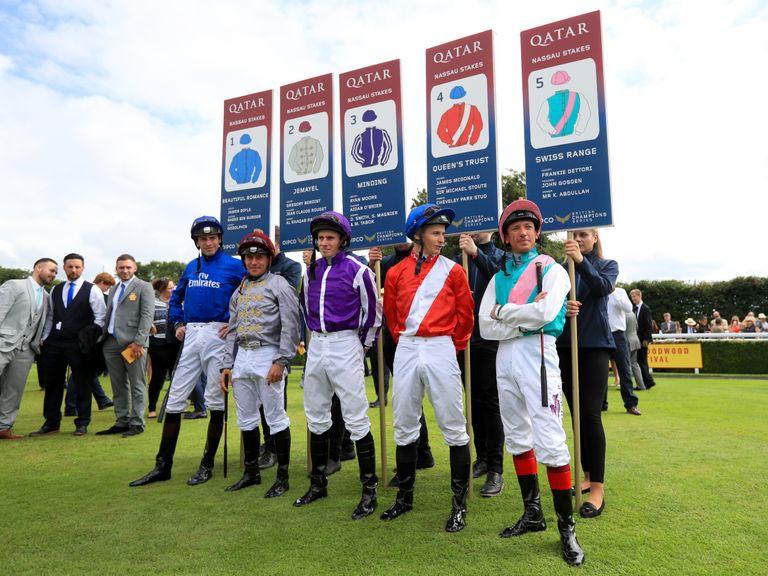 Jockeys James Doyle, Gregory Benoist, Ryan Moore, James Mcdonald and Frankie Dettori ahead of the Qatar Nassau Stakes.