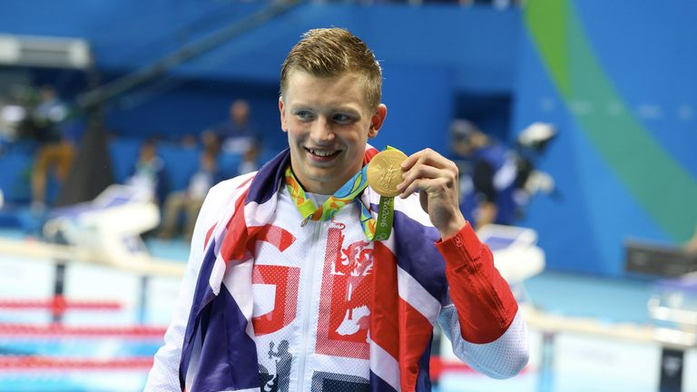 Adam Peaty celebrates his gold medal in Rio