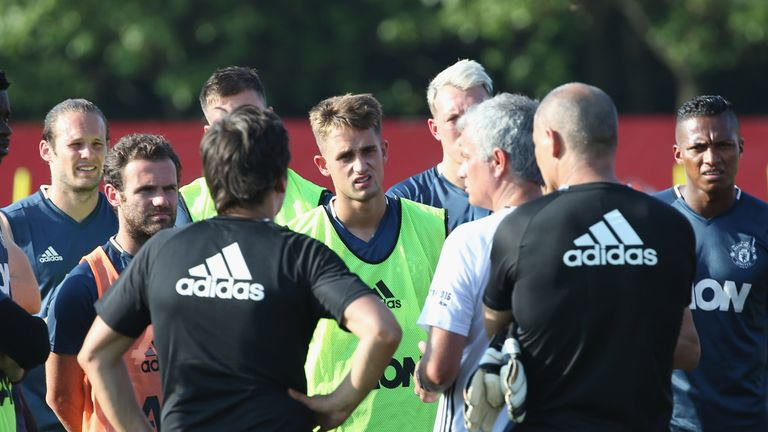 Adnan Januzaj (green bib) during United's pre-season tour in Shanghai