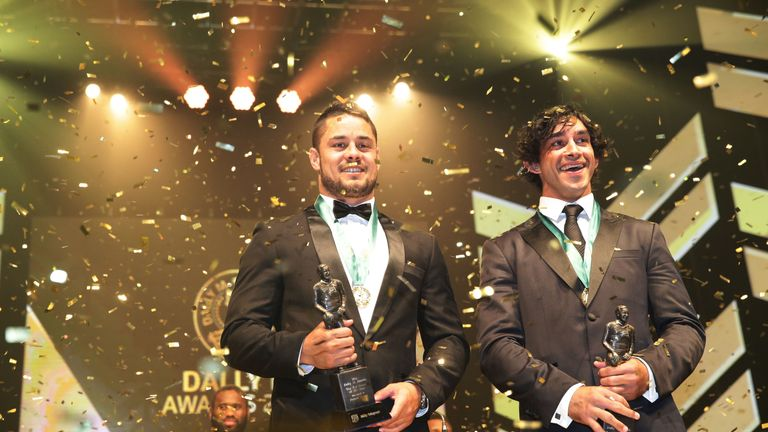 Jarryd Hayne (l) and Johnathan Thurston were joint winners of the Dally M Medal in 2014