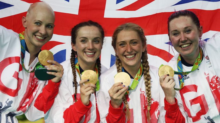Barker (2L) celebrates with her team pursuit gold medal alongside Joanna Rowsell Shand, Laura Trott and Katie Archibald in Rio
