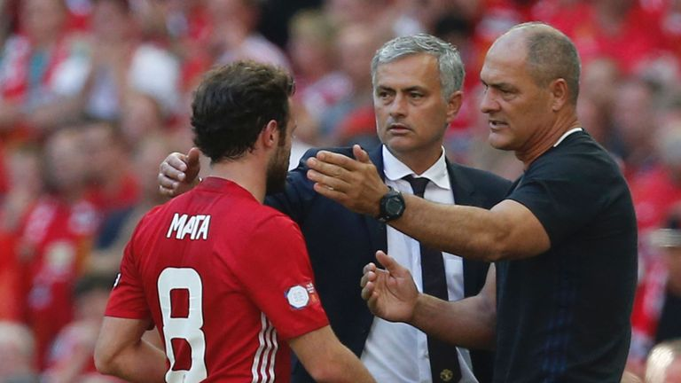Substitute Juan Mata was replaced by Henrikh Mkhitaryan three minutes before the final whistle against Leicester