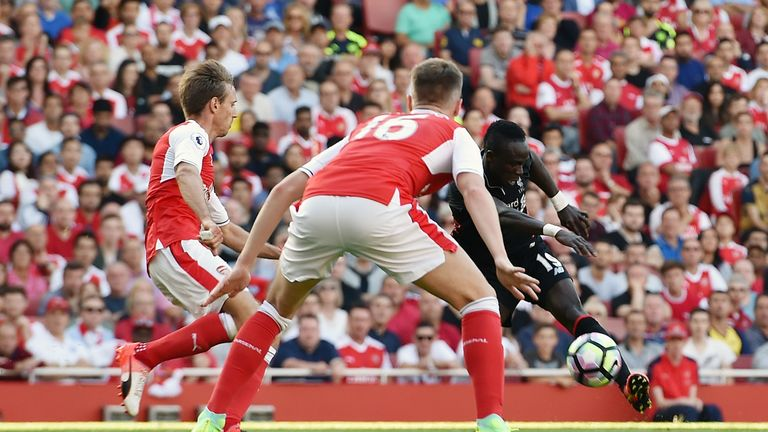 Sadio Mano scored Liverpool's fourth goal at the Emirates