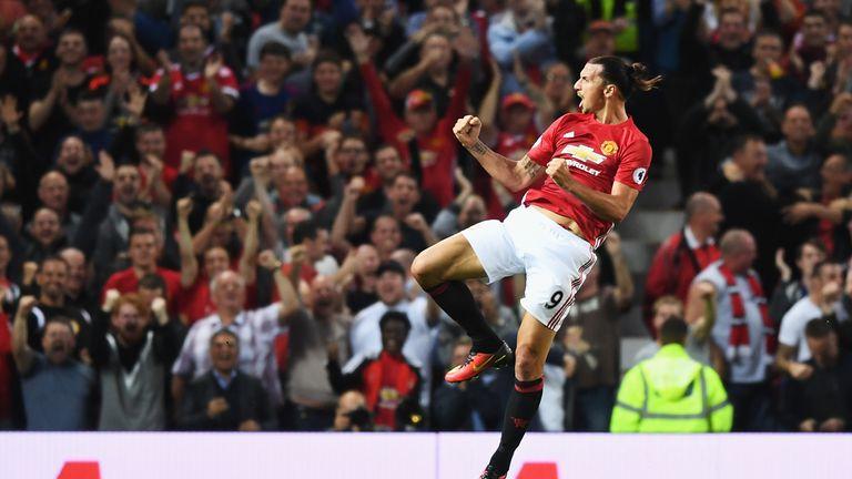 Ibrahimovicc elebrates scoring the opening goal