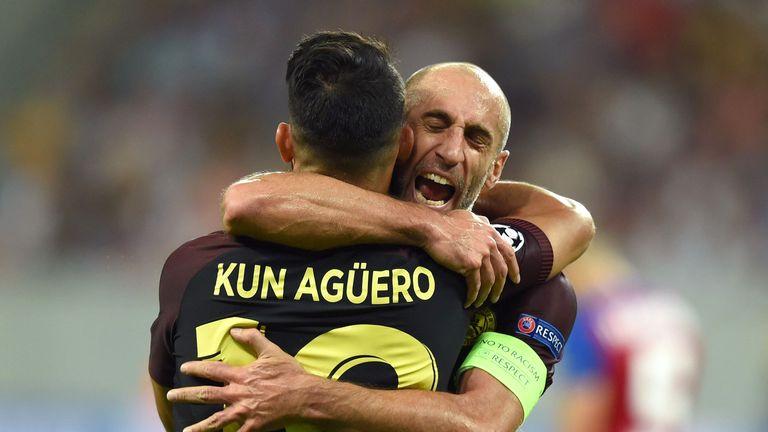 Aguero celebrates with team-mate Pablo Zabaleta