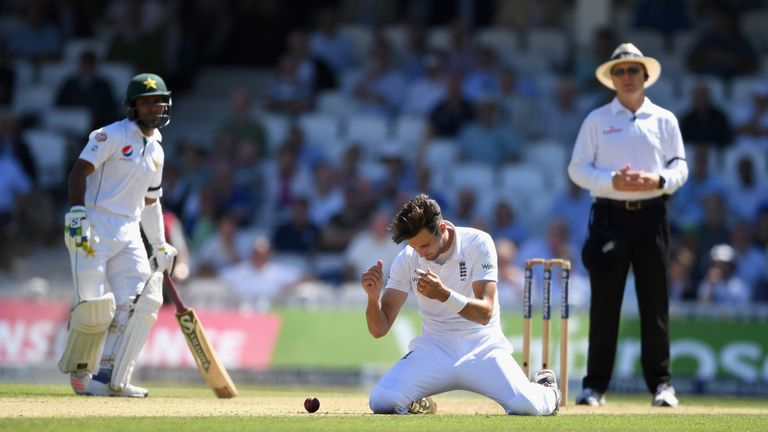 Steven Finn puts down England's third potential catch of the morning
