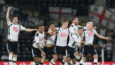 Derby players and penalty takers celebrate winning the penalty shoot-out against Carlisle