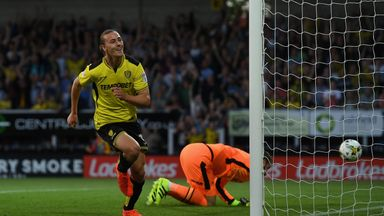Jackson Irvine celebrates scoring Burton's opening goal against Derby County