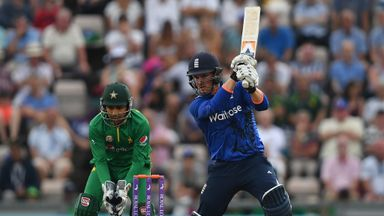 Jason Roy of England hits out