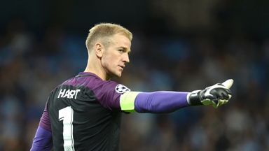 Joe Hart gestures towards the crowd, who chanted his name throughout