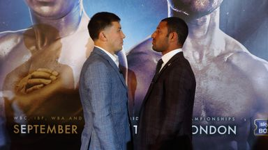 Gennady Golovkin (L) and Kell Brook (R) go head-to-head during the press conference ahead of their fight