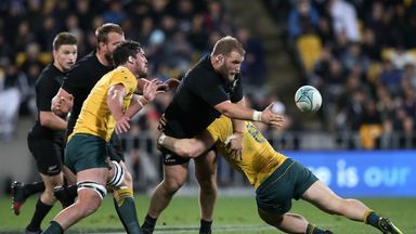Owen Franks offloads the ball during his side's 29-9 win over Australia