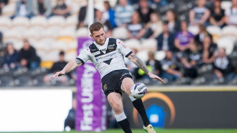 Hull FC's Marc Sneyd kicks forward during their Super 8s match against Castleford