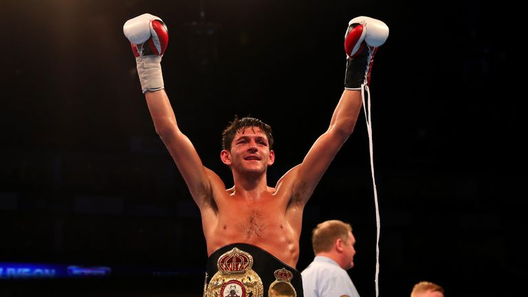 LONDON, ENGLAND - APRIL 09:  Jamie McDonnell of England celebrates defeating Fernando Vargas of Mexico during the WBA World Bantamweight title fight at The