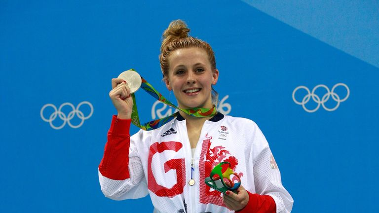 Siobhan-Marie O'Connor proudly displays her silver medal from the women's 200m individual medley