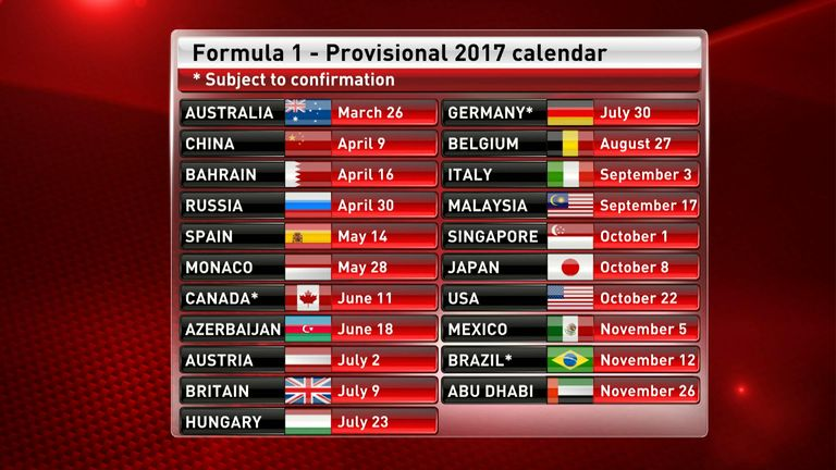 f1 2017 calendar and schedule driver line ups and test dates f1 news. Black Bedroom Furniture Sets. Home Design Ideas