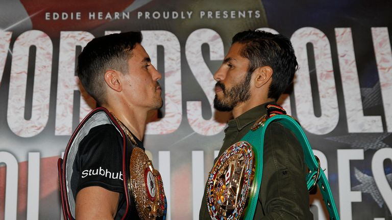 Anthony Crolla and Jorge Linares went head-to-head (Pic: Lawrence Lustig)