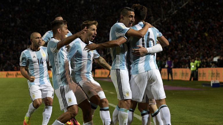 Argentina celebrate Messi's strike