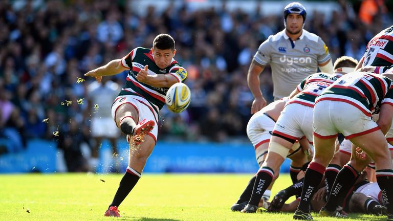 Ben Youngs kicks from the base of a ruck