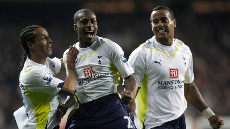 Rose celebrates scoring against Arsenal on his Tottenham debut in 2010