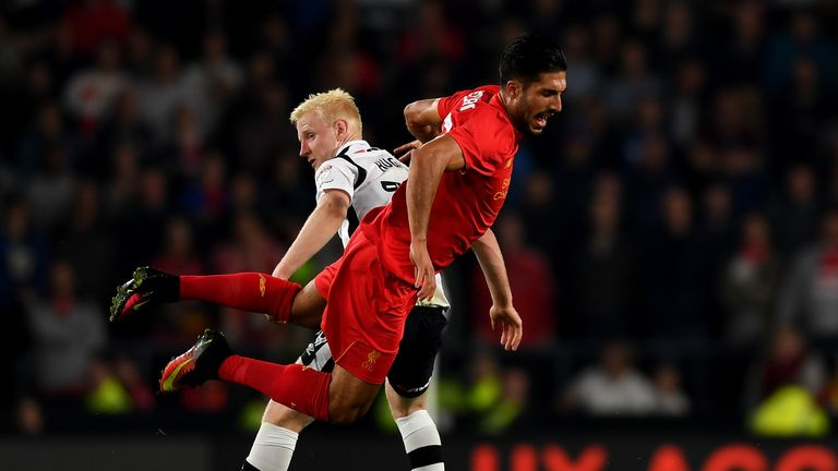 Emre Can returned after injury in Liverpool's 3-0 win over Derby on Tuesday