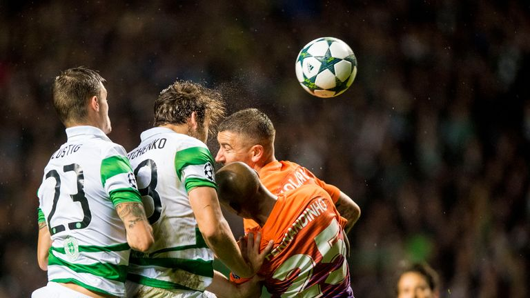 Sviatchenko (2nd left) in action against Manchester City in last season's Champions League