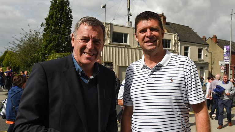 Niall Quinn (right) and former Ireland team-mate Packie Bonner pictured outside Croke Park ahead of the All-Ireland final